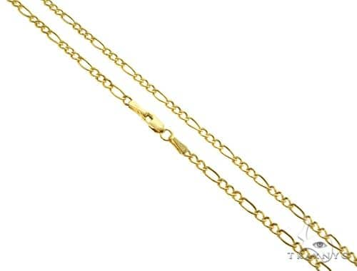 Choker Necklace 14K Yellow Gold Semi-Hollow Figaro Link 18 Inches 1.75mm 1.44 Grams 64049 Gold