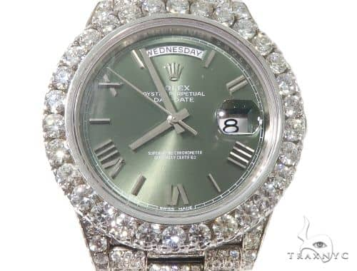Full Diamond 18K White Gold Day-Date Rolex Presidential Watch 64056 Diamond Watch Inactive