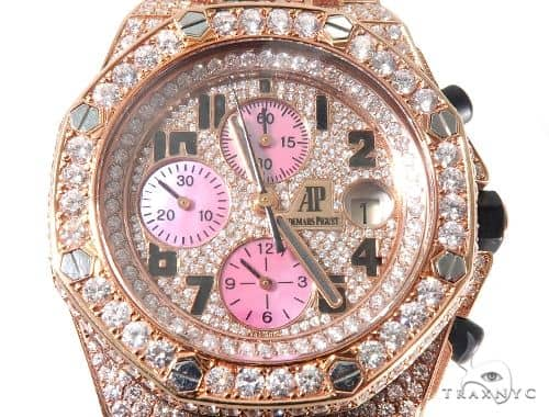 18Kt Rose Gold Full Diamond Audemars Piguet Royal Oak Offshore Watch Audemars Piguet Watches