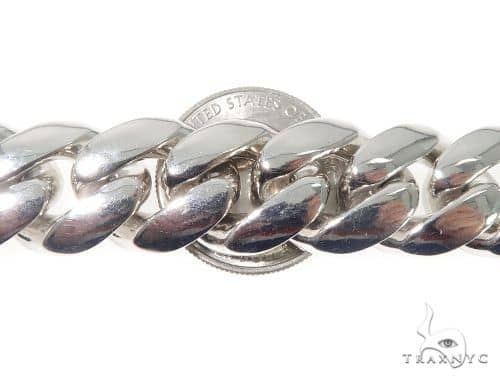 Silver Solid Miami Cuban Link Bracelet 8.75 Inches 17mm 141.0 Grams 64083 Silver