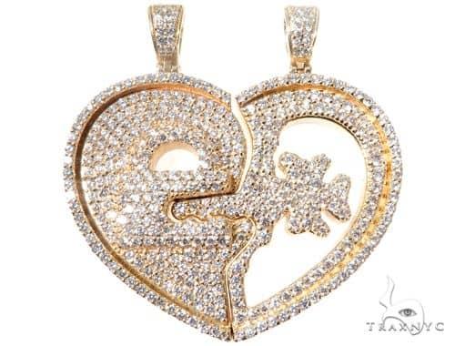 Custom Flower-Set Diamonds Key & Lock Heart Pendant 64090 Metal