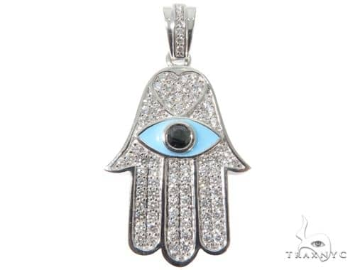 Rose Cut Black Diamond Hamsa Hand Charm Pendant 64093 Metal