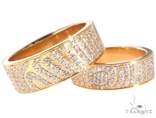 Custom Micro-Pave Diamond Fingerprints Rings Set 64097 Stone