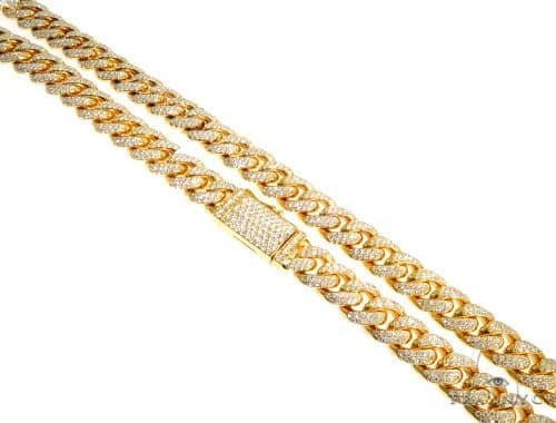 14K Yellow Gold Diamond Miami Cuban Link Chain 20 Inches 12mm 224.0 Grams 64098 Diamond