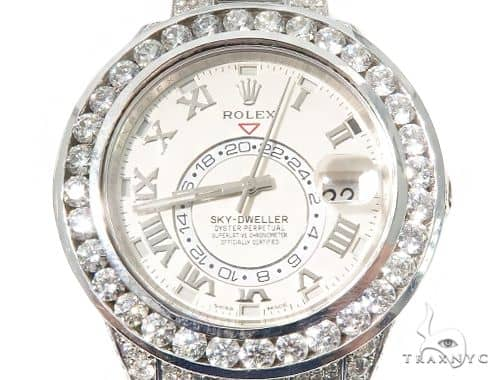 Full Diamond 18K White Gold Ivory Dial Sky -Dweller 64107 Diamond Watch Inactive