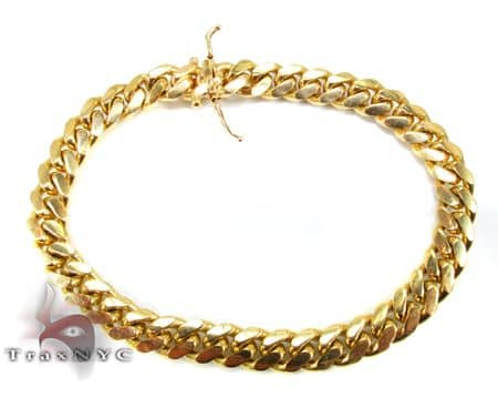 10K Gold Hollow Miami Cuban Bracelet 8 Inches 5.5mm 8 Grams 64113 Gold