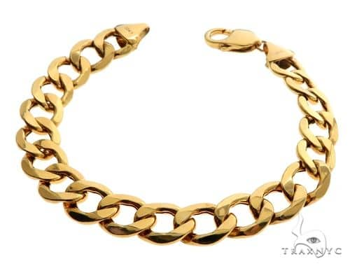 10K Yellow Gold Hollow Cuban Curb Link Bracelet 8.5 Inches 11mm 15.0 Grams 64116 Gold