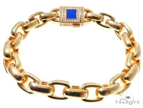 Solid Cable Link Bracelet with Custom Diamond Lock 64124 Diamond