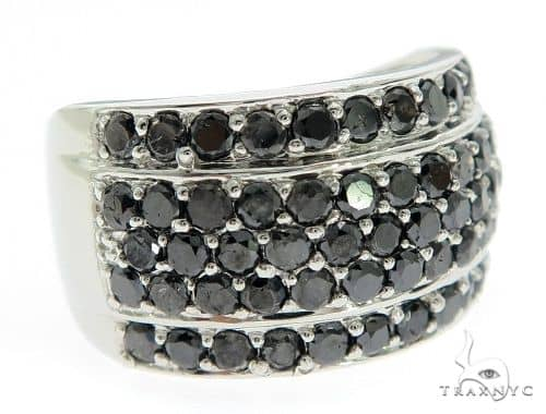 14K White Gold Black Diamond Band Stone