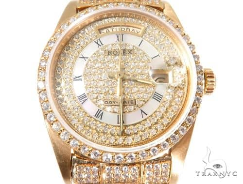 1 of 1 Blowout Sale 18K Yellow Gold Fully Iced Out Day-Date Rolex Vintage Watch Diamond Rolex Watch Collection