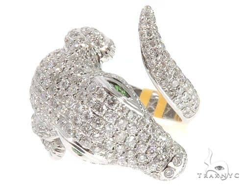 Alligator Crocodile Diamond Ring Anniversary/Fashion