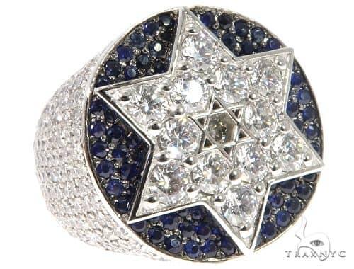 Flower Set Russian Cut Diamond Star of David Platinum Ring 64169 Stone