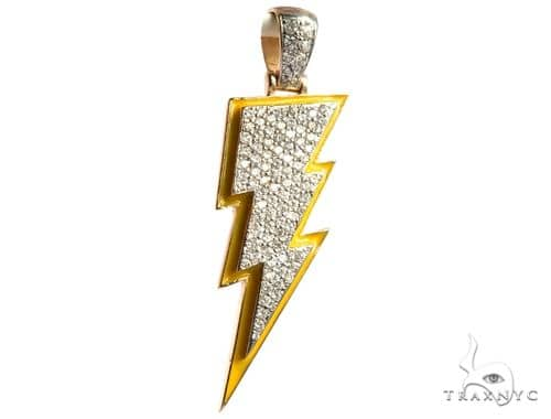 Flower Set Diamond Custom Lightning Bolt Pendant 64170 Metal