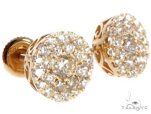 14K Gold Diamond Stud Earrings Stone