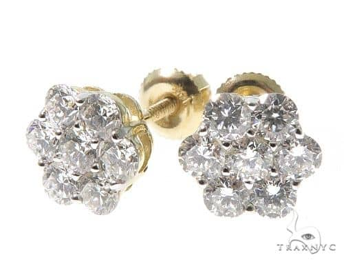 14K Yellow Gold Diamond Cluster Stud Earrings 64185 Stone