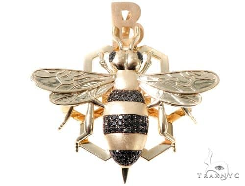 Black Diamond Bee Pendant Metal