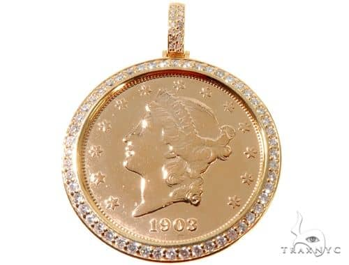 Prong Diamond 14K Yellow Gold Frame 22K Yellow Gold Twenty Dollar Coin Diamond Pendant Metal