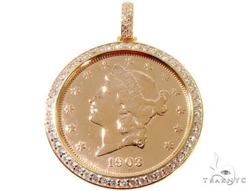 14K Yellow Gold Frame 22K Yellow Gold Twenty Dollar Coin Diamond Pendant 64190 Metal