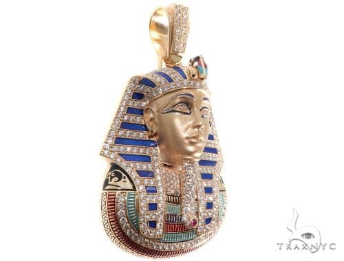 Prong Diamond Pharaoh King Tut Pendant Metal