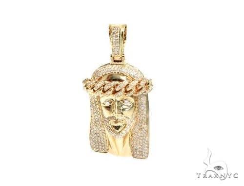Prong Diamond Large Jesus Head Pendant 64198 Metal