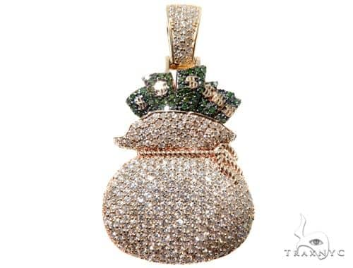Custom Prong Diamond Money Bag Pendant Metal
