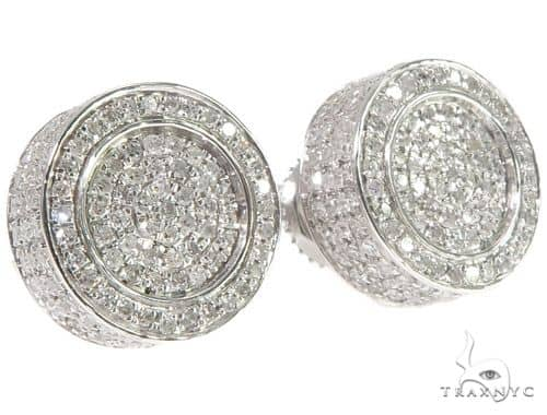 10K WG Micro Pave Diamond Round Earrings Stone