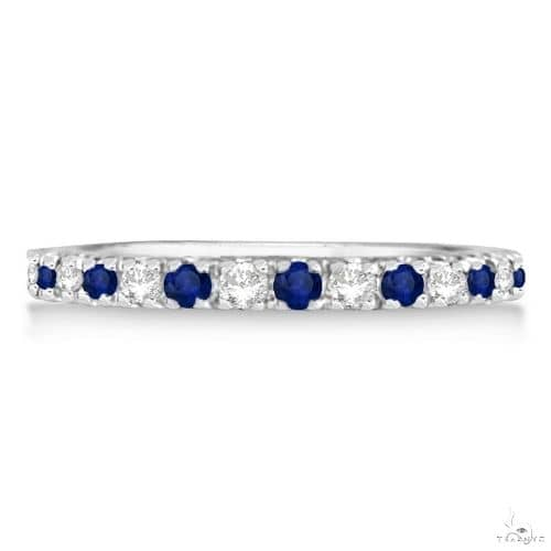 Diamond and Blue Sapphire Ring Anniversary Band 14k White Gold Anniversary/Fashion
