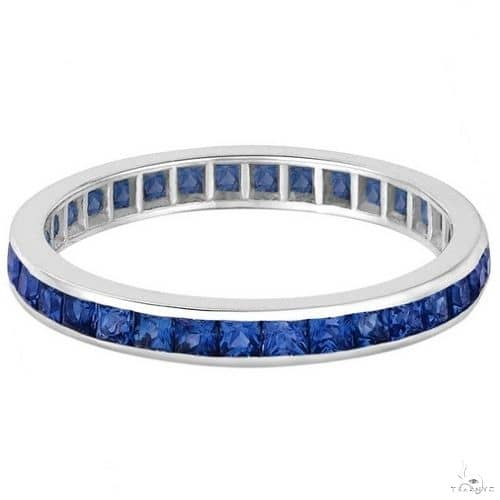 Princess-Cut Blue Sapphire Eternity Ring Band 14k White Gold Anniversary/Fashion
