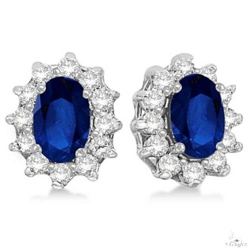 Oval Blue Sapphire and Diamond Accented Earrings 14k White Gold Stone