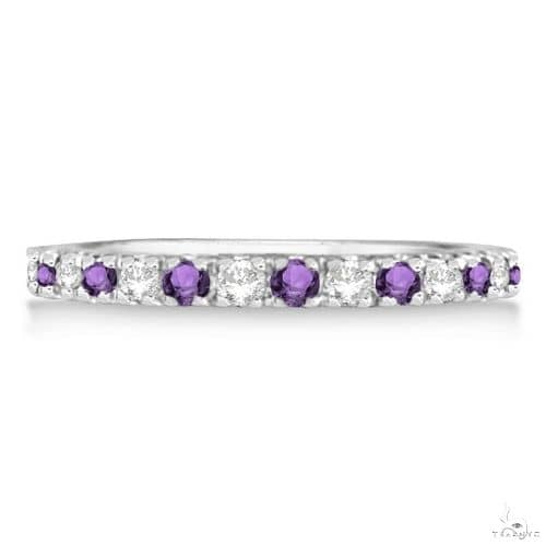 Diamond and Amethyst Ring Guard Stackable Band 14k White Gold Anniversary/Fashion