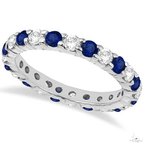 Eternity Diamond and Blue Sapphire Ring Band 14k White Gold Anniversary/Fashion