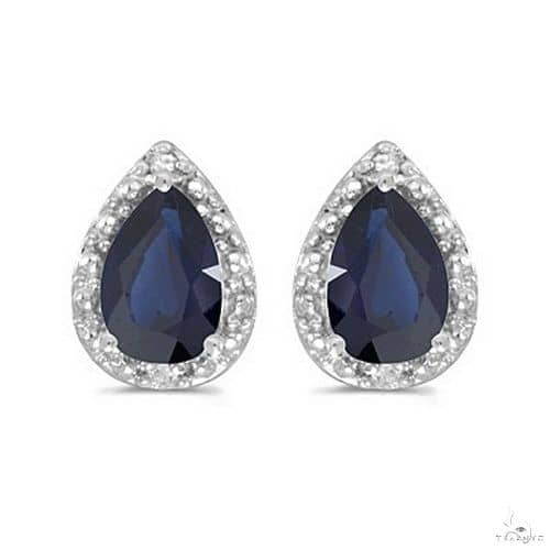 Pear Blue Sapphire and Diamond Stud Earrings 14k White Gold (1.70ct) Stone