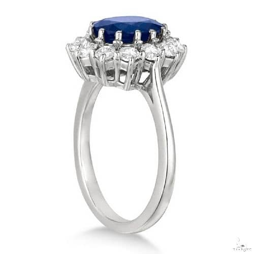 Oval Blue Sapphire and Diamond Accented Ring 14k White Gold Anniversary/Fashion