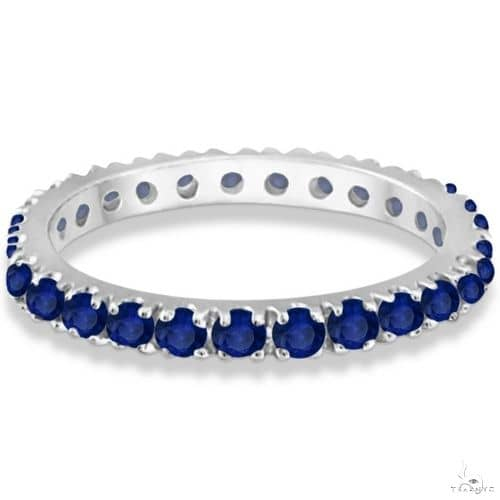Blue Sapphire Eternity Band Wedding Ring 14K White Gold Anniversary/Fashion