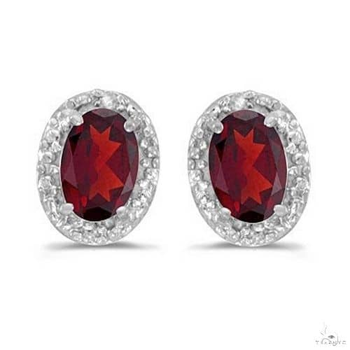 Diamond and Ruby Earrings in 14k White Gold Stone
