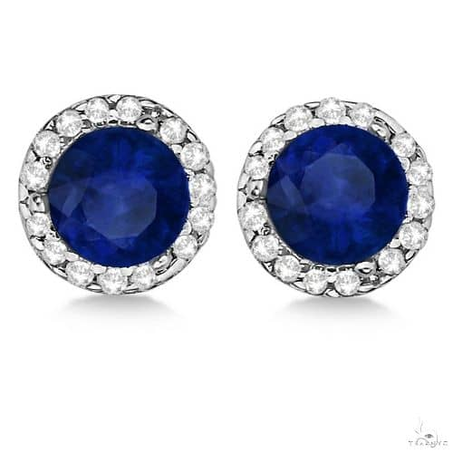 Diamond and Blue Sapphire Earrings Halo 14K White Gold Stone