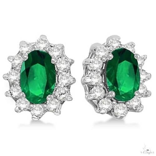 Oval Emerald and Diamond Accented Earrings 14k White Gold Stone
