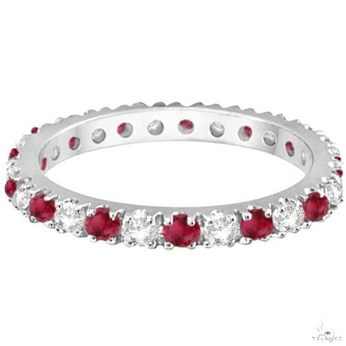 Diamond and Ruby Eternity Ring Stackable Band 14K White Gold Anniversary/Fashion