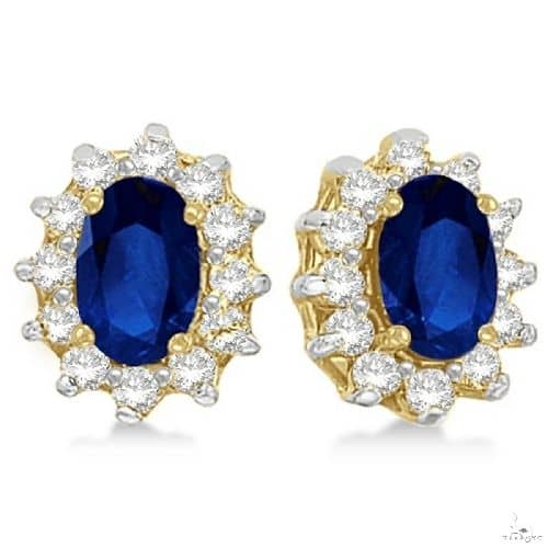 Oval Blue Sapphire and Diamond Accents Earrings 14k Yellow Gold Stone