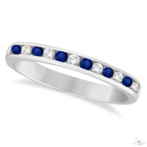 Channel-Set Blue Sapphire and Diamond Ring 14k White Gold Anniversary/Fashion