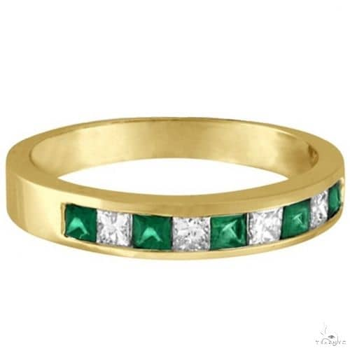 Princess-Cut Diamond and Emerald Ring Band 14k Yellow Gold Anniversary/Fashion
