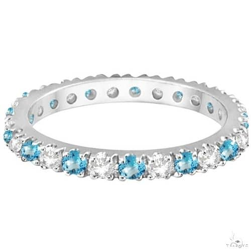 Diamond and Blue Topaz Eternity Ring Stack Band 14K White Gold Anniversary/Fashion