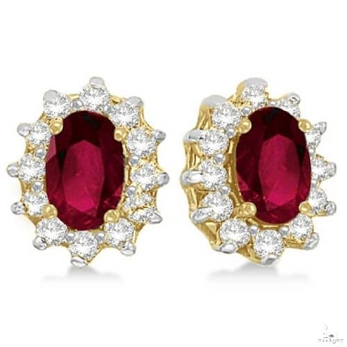 Oval Ruby and Diamond Accented Earrings 14k Yellow Gold Stone