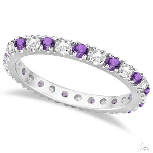 Diamond and Amethyst Eternity Ring Guard Band 14K White Gold Anniversary/Fashion