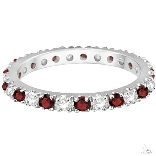 Diamond and Garnet Eternity Band Stackable Ring 14K White Gold Anniversary/Fashion