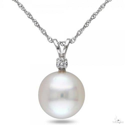 Solitaire South Sea Pearl Pendant Necklace w/ diamond 14k W. Gold 10mm Stone
