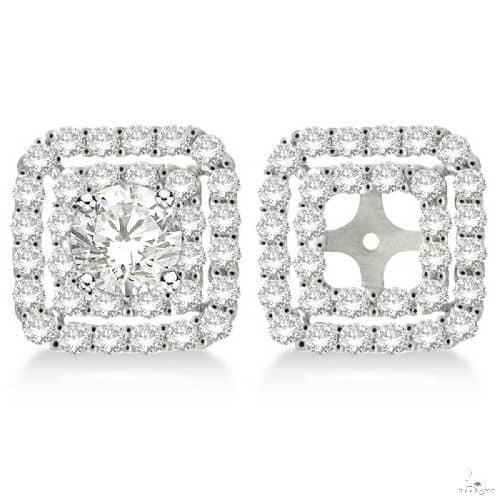 Pave-Set Square Diamond Earring Jackets in 14k White Gold Stone