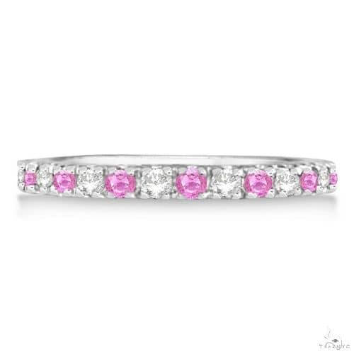 Diamond and Pink Sapphire Ring Guard Stackable 14k White Gold Anniversary/Fashion