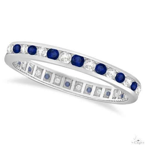 Blue Sapphire and Diamond Channel Set Eternity Band 14k Gold Ring Anniversary/Fashion
