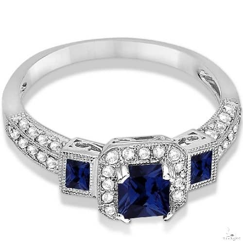 Blue Sapphire and Diamond Engagement Ring 14k White Gold (1.35ctw) Anniversary/Fashion